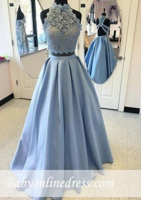 Lace Long High-neck A-line Two-pieces Blue Prom Dress_1