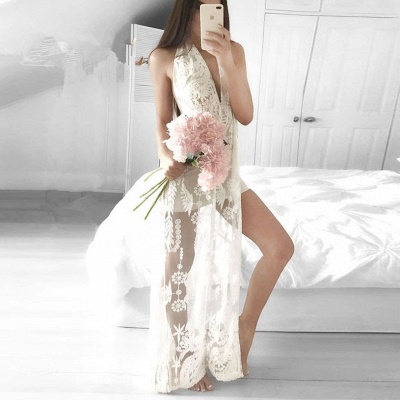 2018 Front-Split V-neck Mermaid Floor-length Sleeveless Lace Sexy Prom Dress_3