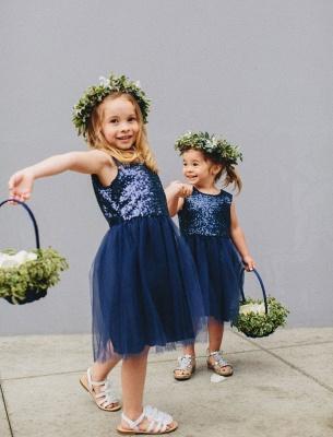 Cheap Short Sequin Flower Girl Dress Cute Tulle Wedding Party Dress_1