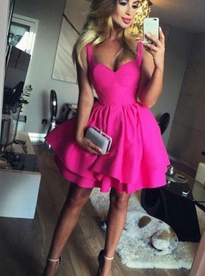 Sexy Tutu A-Line Homecoming Dresses | Straps 2 Layers Mini Cocktail Dresses_5
