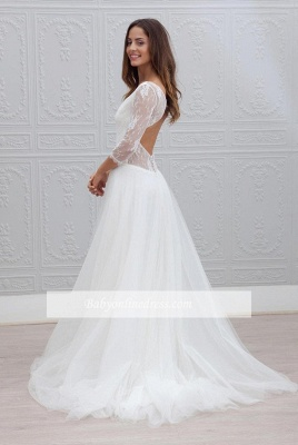 Backless V-neck A-line Simple Sweep Train Wedding Dresses_1