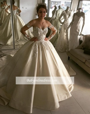 Elegant Ball Gown Wedding Dresses | Off-the-Shoulder Long Sleeves Bridal Gowns_1