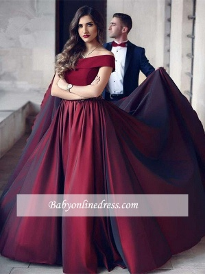 A-Line Floor-Length Off-the-shoulder Beautiful Wine Evening Dress_3