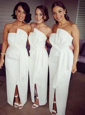 Chic White Sheath Bridesmaid Dresses | Strapless Slit Long Wedding Party Dresses_1