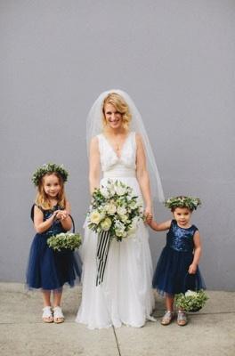 Cheap Short Sequin Flower Girl Dress Cute Tulle Wedding Party Dress_3