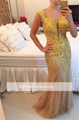 Tulle Applqiues Sleeveless Mermaid Sexy Beadings Sheer Prom Dress_3