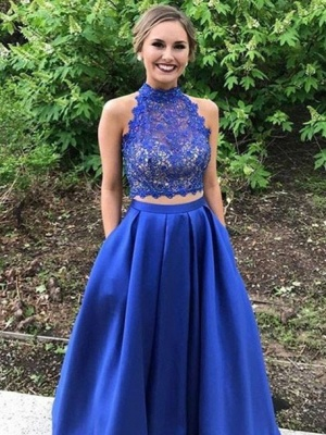 Lace Long High-neck A-line Two-pieces Blue Prom Dress_4