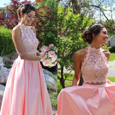 Lace Long High-neck A-line Two-pieces Blue Prom Dress_5