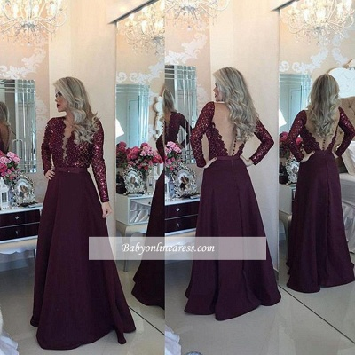 Sexy Burgundy Beadings Prom Dress A-Line Long Sleeves Lace Evening Gowns_1