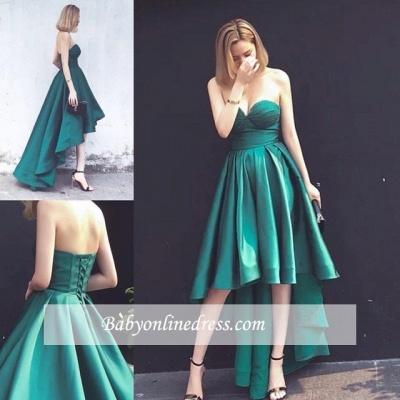Asymmetrical Ruffles Sleeveless Sweetheart Lace-up Hi-Lo Hot Evening Gown_1