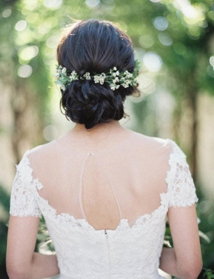Vintage Tulle Lace Floor Length Short Sleeve Princess Wedding Dress with Zipper_3