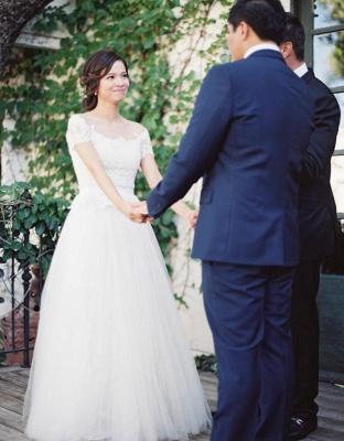 Vintage Tulle Lace Floor Length Short Sleeve Princess Wedding Dress with Zipper_5
