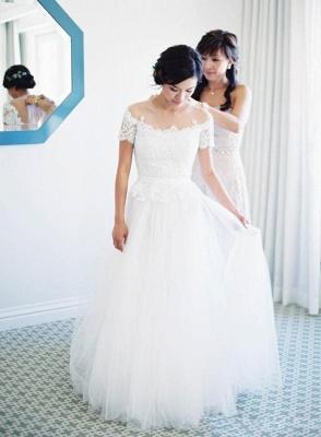 Vintage Tulle Lace Floor Length Short Sleeve Princess Wedding Dress with Zipper_4