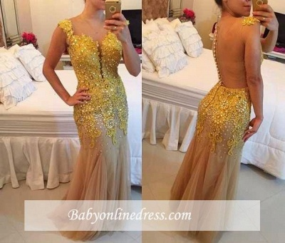 Tulle Applqiues Sleeveless Mermaid Sexy Beadings Sheer Prom Dress_1