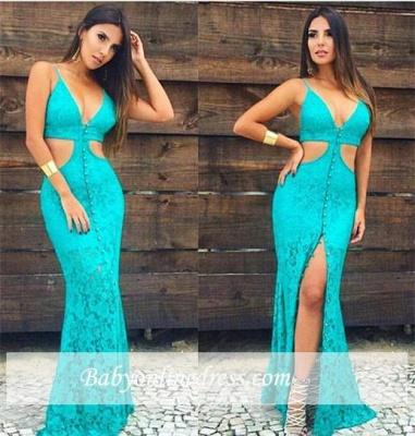 New Arrival Mermaid Spaghetti-Strap Party Dress Sleeveless Lace Prom Dress_1