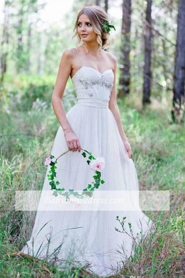Cheap Simple A-Line Spaghetti Straps Tulle Wedding Dress with Beadings_1