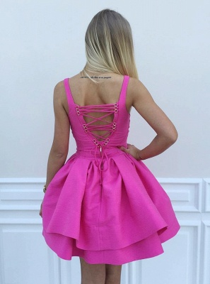 Sexy Tutu A-Line Homecoming Dresses | Straps 2 Layers Mini Cocktail Dresses_3
