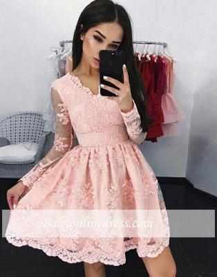 Pink V-neck A-line Long-sleeves Short Lace Cocktail Dress_1