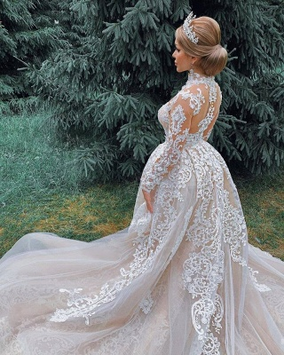 High Neck Sheer Lace Gorgeous Long Sleeves Wedding Dresses_5