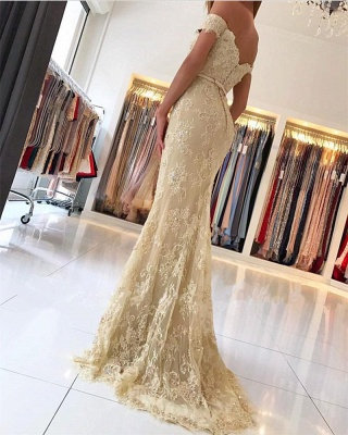 Elegant 2018 Lace Mermaid Prom Dresses Off the Shoulder Beading with Belt_2
