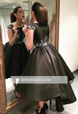 Sparkly Black Hi-Lo Tea-Length Puffy A-Line Prom Dresses_1