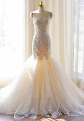 Gorgeous Lace Appliques Tulle Sweetheart Mermaid Wedding Dress_2
