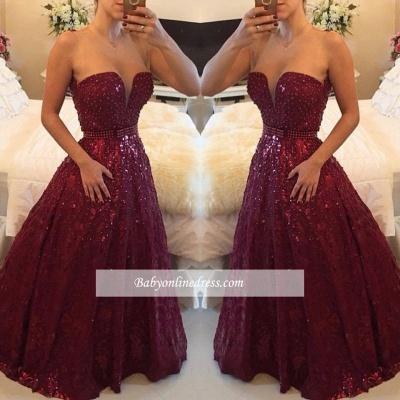 Elegant Sweetheart Crystal Burgundy Evening Gowns A-Line Prom Dress with Beadings_1
