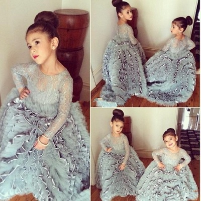 Grey Cloud Flower Girl's Dresses Lace Long Sleeves Tiers Long Stunning Girl's Pageant Dresses_3
