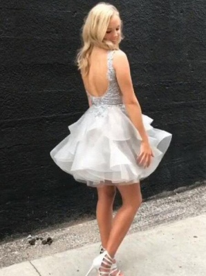 Sexy Sheer A-line Homecoming Dresses | V-Neck Sleeveless Layers Short Cocktail Dresses_3