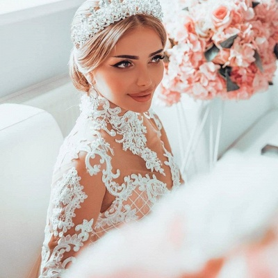 High Neck Sheer Lace Gorgeous Long Sleeves Wedding Dresses_4