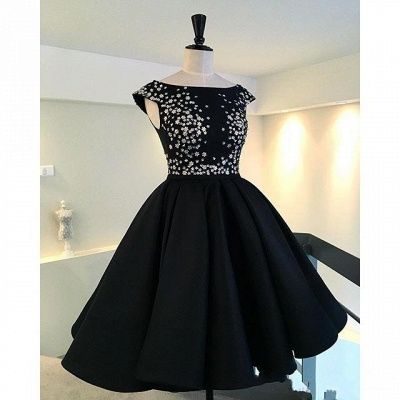 Sparkly Black Hi-Lo Tea-Length Puffy A-Line Prom Dresses_5