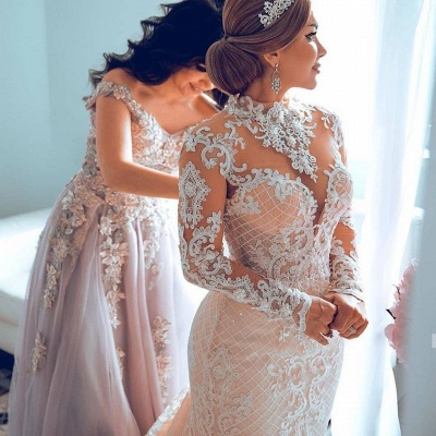 High Neck Sheer Lace Gorgeous Long Sleeves Wedding Dresses_2