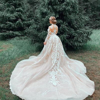 High Neck Sheer Lace Gorgeous Long Sleeves Wedding Dresses_6