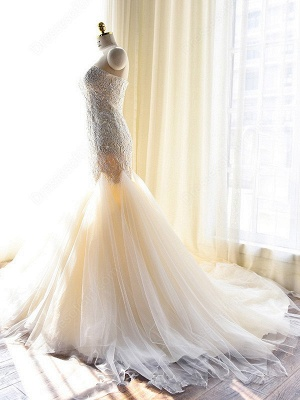 Gorgeous Lace Appliques Tulle Sweetheart Mermaid Wedding Dress_4