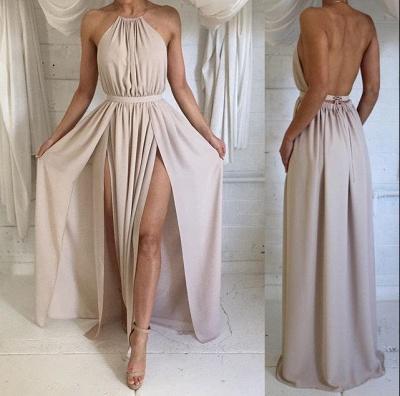 Sexy Split Backless Chiffon Evening Gowns Halter Sleeveless Summer Maxi Dresses_3