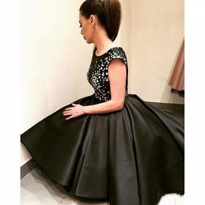 Sparkly Black Hi-Lo Tea-Length Puffy A-Line Prom Dresses_3