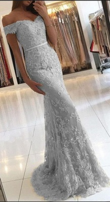 Elegant 2018 Lace Mermaid Prom Dresses Off the Shoulder Beading with Belt_4