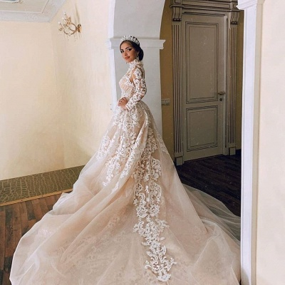 High Neck Sheer Lace Gorgeous Long Sleeves Wedding Dresses_3