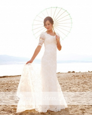 Sweep Train Short-Sleeves Sheath-Column Modern Lace Scoop-Neck Wedding Dresses_1