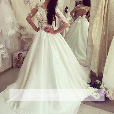 Sweep Train Sweep Train Half Sleeves Bow Gorgeous A-line Wedding Dress_1