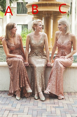 Simple Mermaid Sequined Party Dresses Different Styles Ruffles Bridesmaid Dress_2