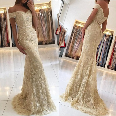 Elegant 2018 Lace Mermaid Prom Dresses Off the Shoulder Beading with Belt_3