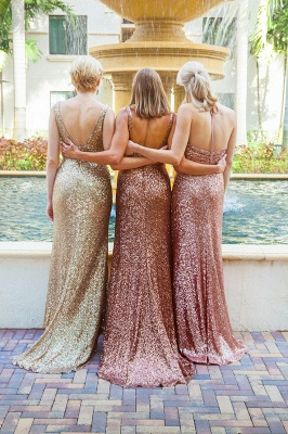 Simple Mermaid Sequined Party Dresses Different Styles Ruffles Bridesmaid Dress_3