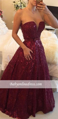 Elegant Sweetheart Crystal Burgundy Evening Gowns A-Line Prom Dress with Beadings_4