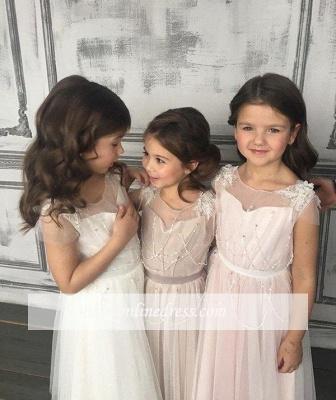 Beadings Appliques Tulle Open-Back A-Line Glamorous Flower-Girl Dresses