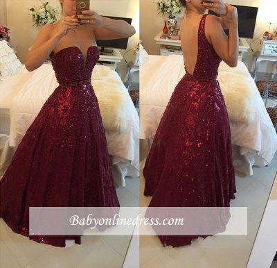 Elegant Sweetheart Crystal Burgundy Evening Gowns A-Line Prom Dress with Beadings_3
