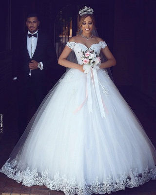 Amazing Lace Tulle Off-the-shoulder Appliques Puffy Wedding Dresses_5