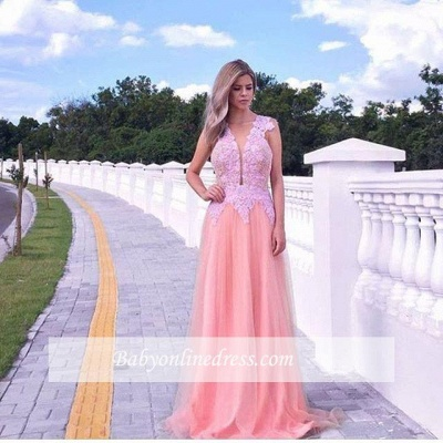 Appliques V-neck A-line Prom Dress Sleeveless Tulle Sweep-train Evening Gowns_3