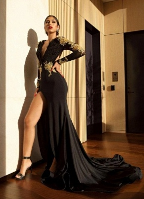 Amazing Black Gold Prom Dresses | Sexy High Slit Evening Gowns_4