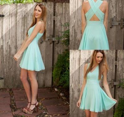 Sexy Cheap Chiffon Homecoming Dresses Cheap V-Neck Mini Party Gowns_3